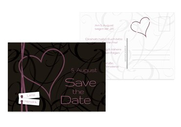 Hochzeit Save-the-Date Band Lila 148x105mm