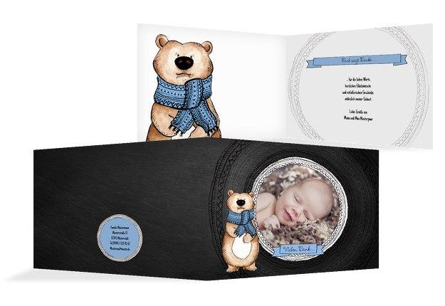 Baby Dankeskarte Vintage Bär