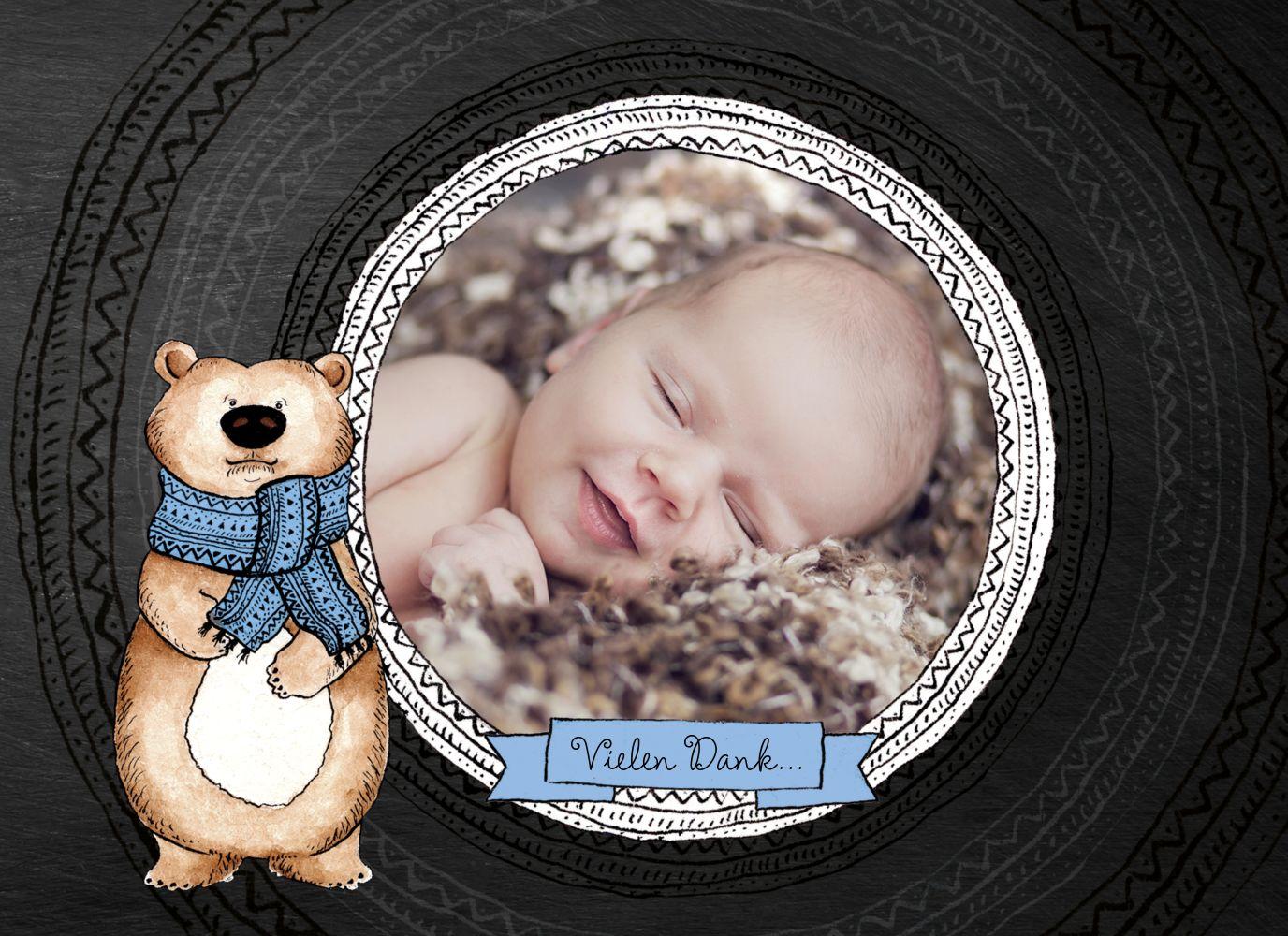 Ansicht 3 - Baby Dankeskarte Vintage Bär