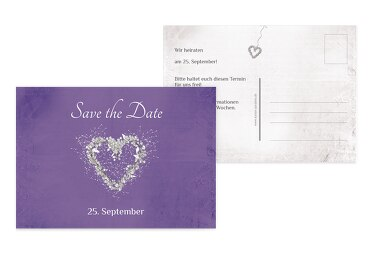 Hochzeit Save the Date glamour heart