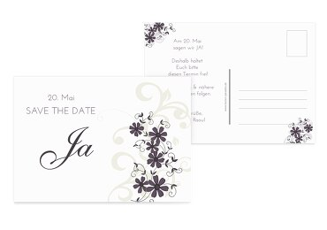 Hochzeit Save-the-Date Ranke Liladunkel 148x105mm