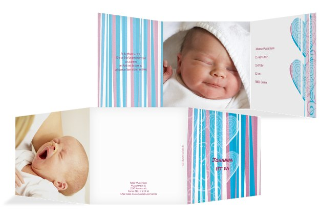 Babykarte hearts and stripes