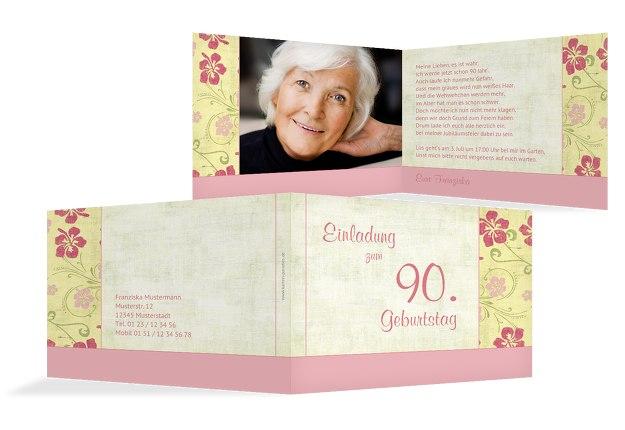 Einladung zum Geburtstag Foto Hibiskus 90