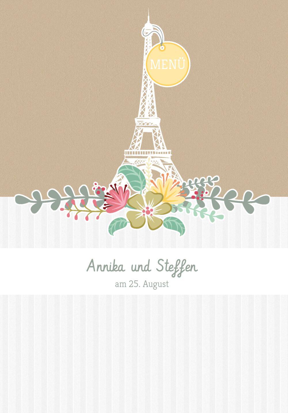 Ansicht 3 - Hochzeit Menükarte Paris
