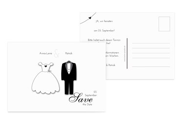 Hochzeit Save-the-Date dress and suit