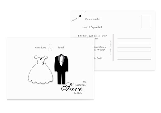 Hochzeit Save-the-Date dress and suit Weiß 148x105mm