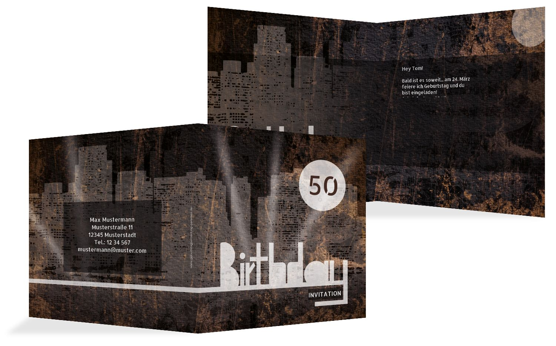 Geburtstagskarte City Lights 50
