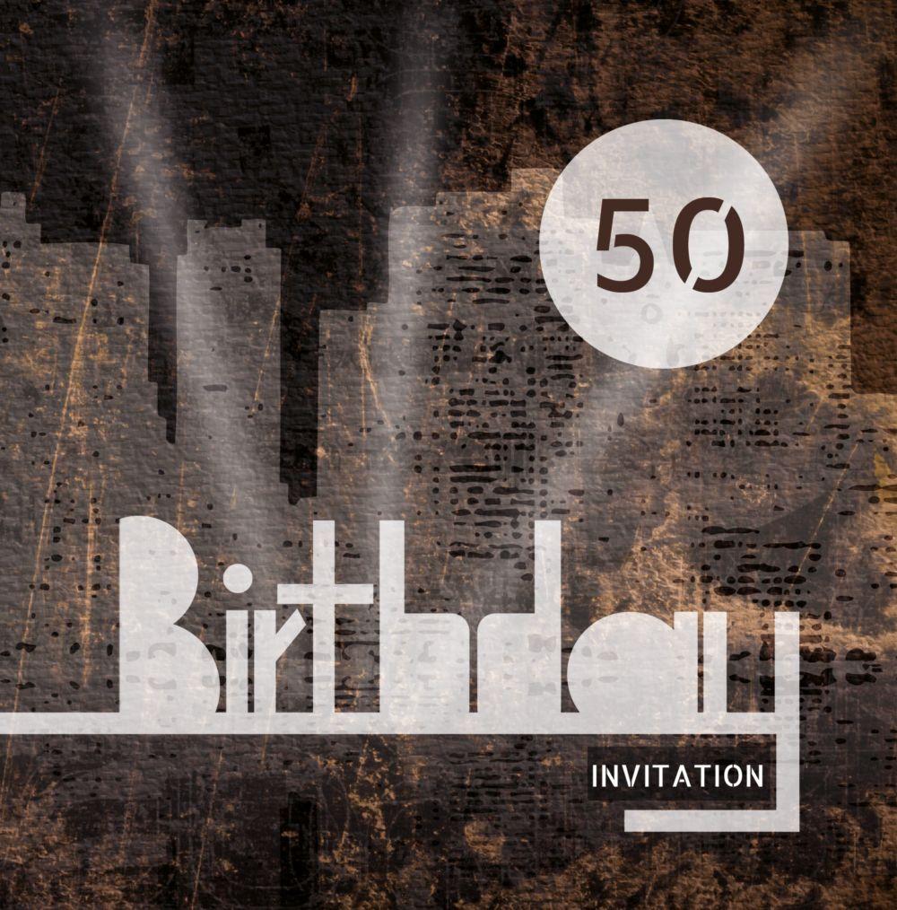 Ansicht 3 - Geburtstagskarte City Lights 50