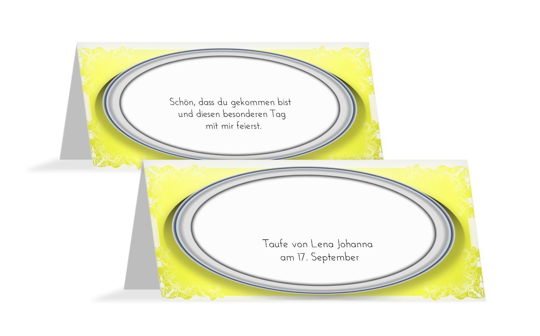 Taufe Tischkarte Oval Frame