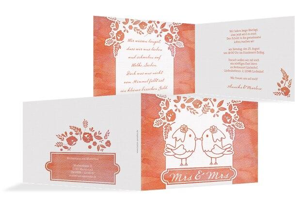 Hochzeit Einladung Vogelpaar - Frauen