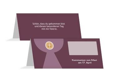Kommunion Tischkarte Kelch mit Hostie