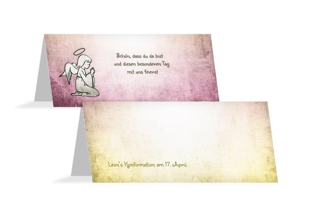 Konfirmation Tischkarte grunge Engel