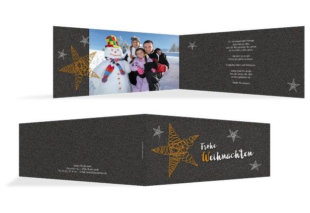 Fotogrußkarte Weihnachten curly star