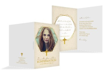 Konfirmation Dankeskarte Goldrausch