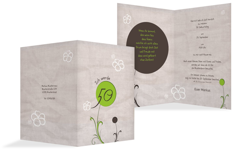 Geburtstagskarte Fantasyflower 50