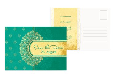 Save-the-Date Mumbai tuerkis 148x105mm