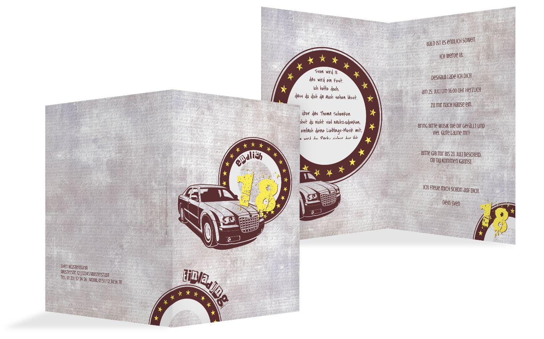 Einladung zum Geburtstag Car Star 18