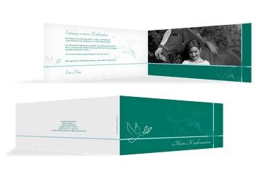 Einladungskarte zur Konfirmation floral
