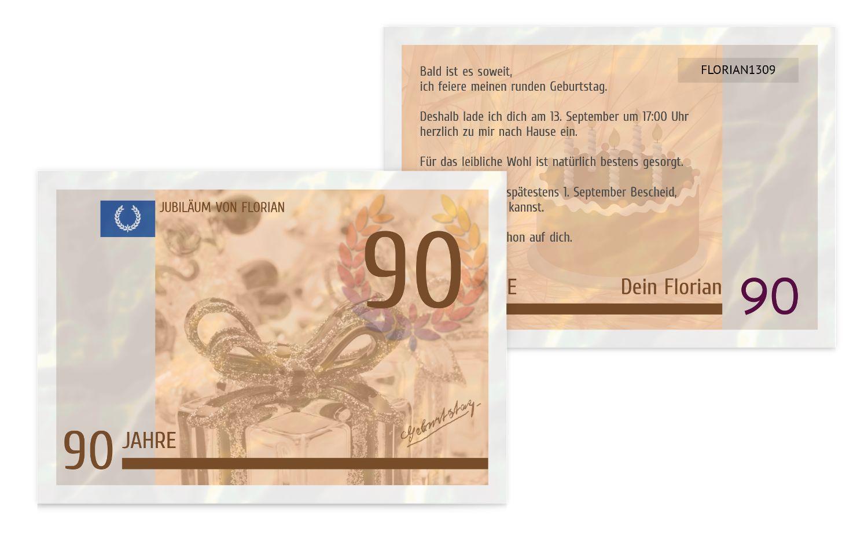 Einladungskarte Geldschein 90
