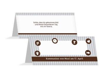 Tischkarte Kommunion stripes-buttons