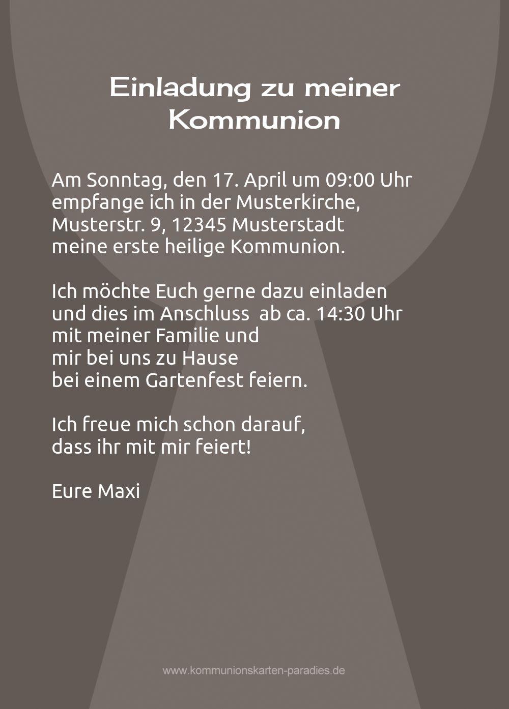 Kommunion Karte Text.Kommunionskarte Kelch Mit Hostie