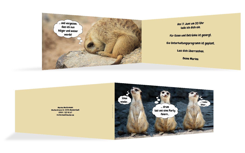 Einladungskarte zum Geburtstag Erdmännchen