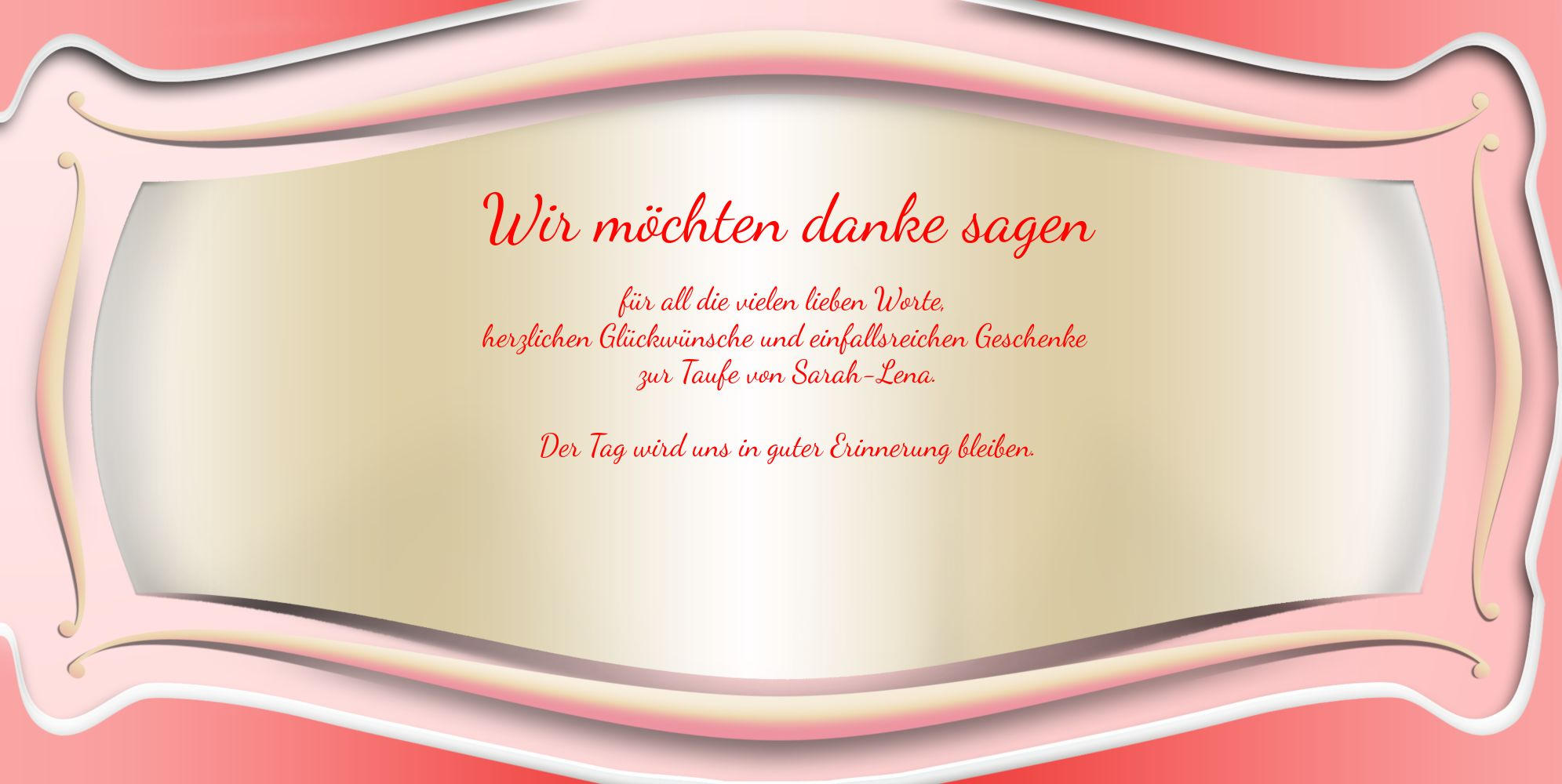 Ansicht 5 - Taufe Dankeskarte Streifbogen