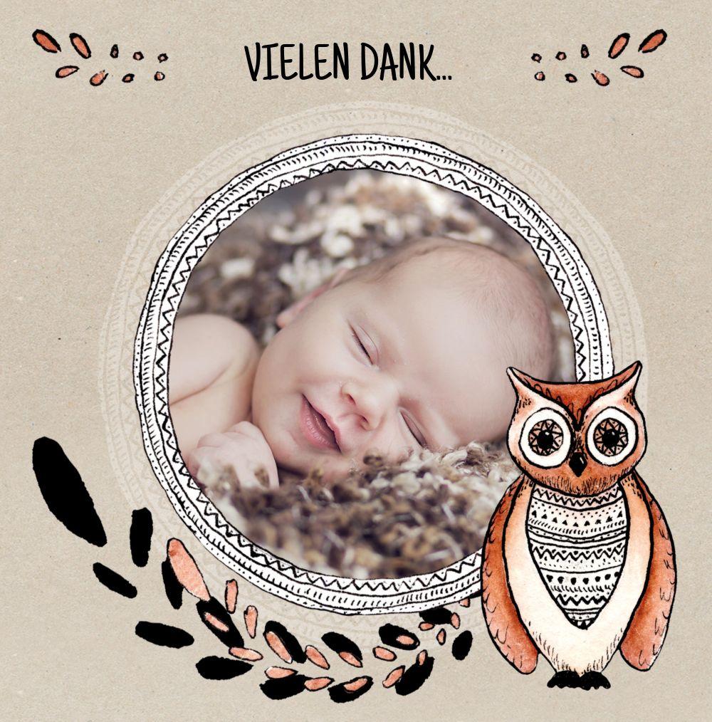 Ansicht 3 - Baby Dankeskarte Vintage Eule
