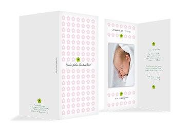 Baby Dankeskarte Blumentapete