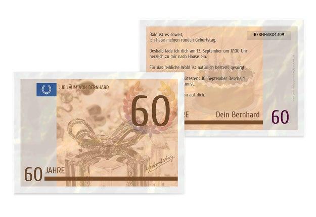 Geburtstagseinladung Geldschein 60