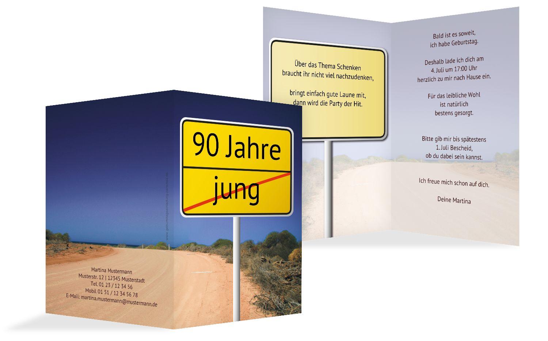 Karte zum Geburtstag Straßenschild 90