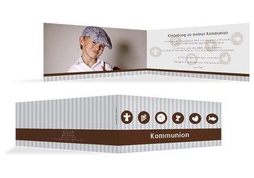 Kommunionskarte Stripes-Buttons
