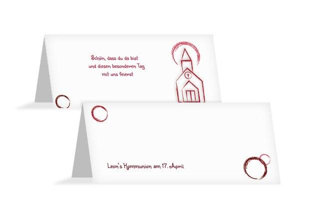 Kommunion Tischkarte Kirche