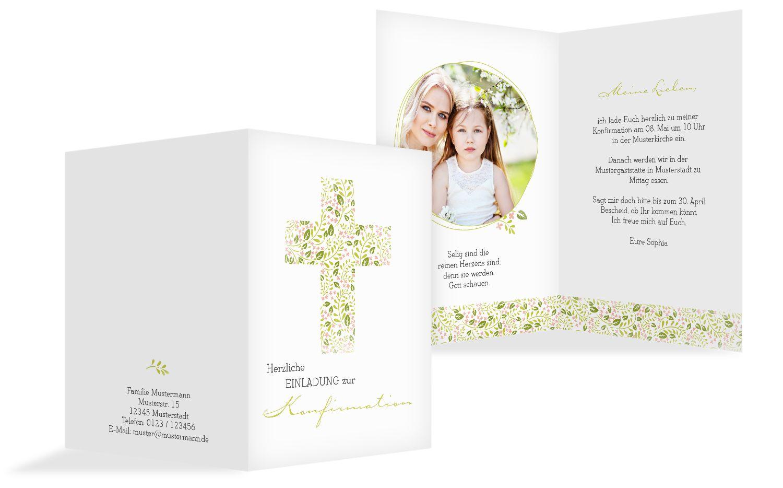 Konfirmation Einladungskarte Blumenkreuz