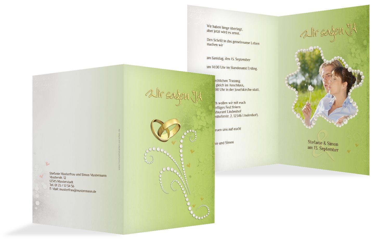 Hochzeit Einladung Eheringe Perlen