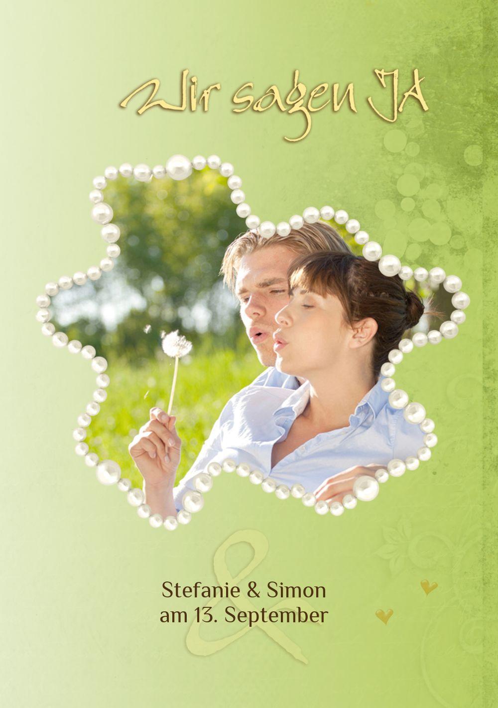 Ansicht 5 - Hochzeit Einladung Eheringe Perlen