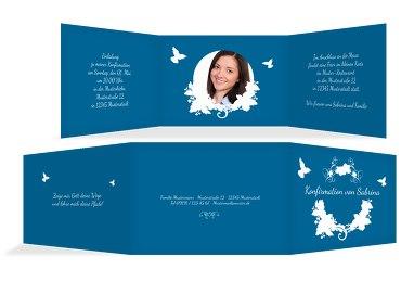 Konfirmation Einladungskarte Vogel