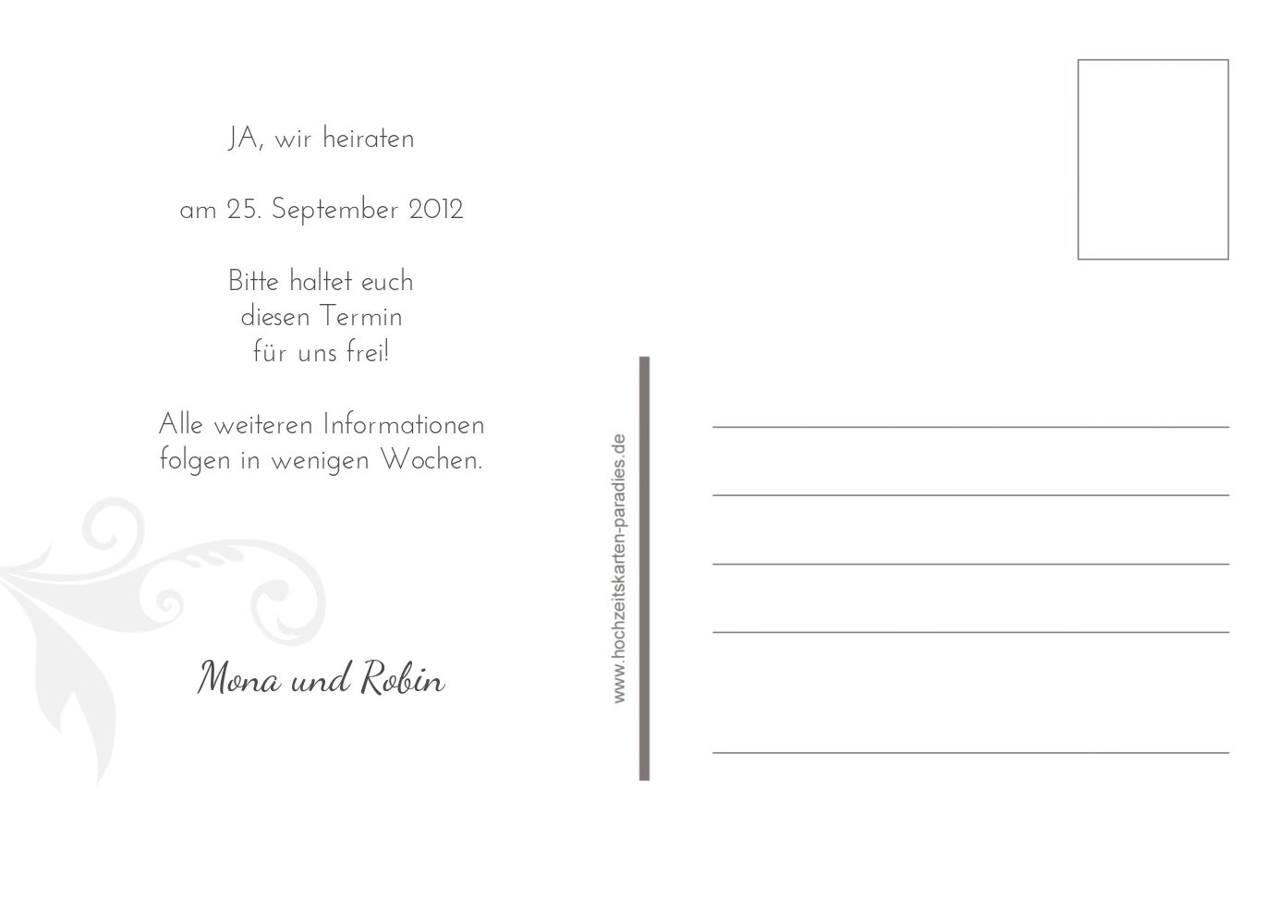 Ansicht 3 - Save-the-Date squiggle square