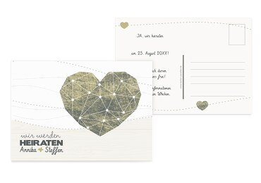 Save-the-Date Sternenbild Matschgruen 148x105mm