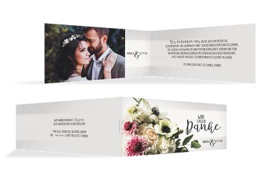 Hochzeit Dankeskarte Bouquet