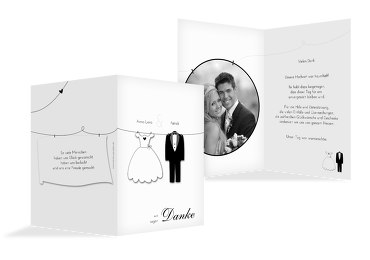 Hochzeit Dankeskarte dress and suit