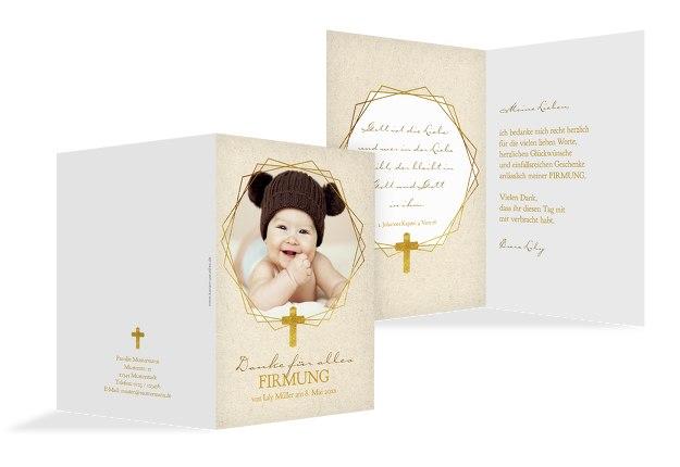 Taufe Dankeskarte Goldrausch