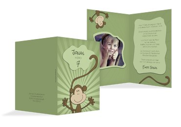 Einladung zum Kindergeburtstag Foto Affenparty