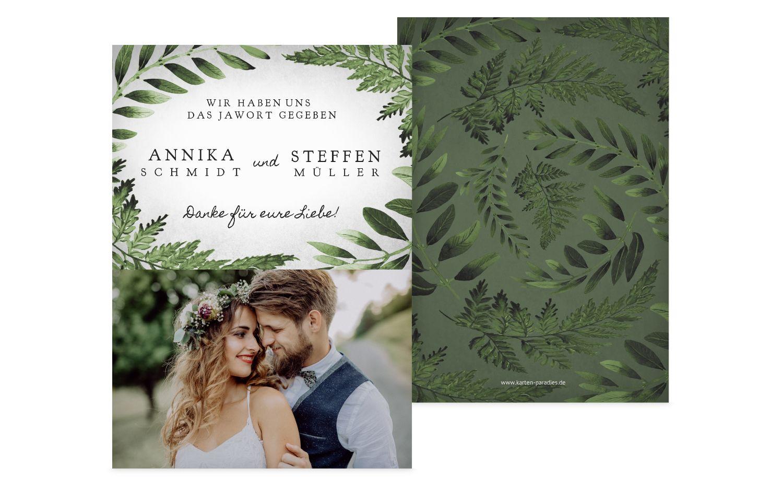 Hochzeit Dankeskarte Blätterwerk