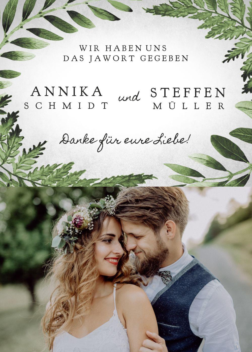 Ansicht 2 - Hochzeit Dankeskarte Blätterwerk