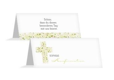 Konfirmation Tischkarte Blumenkreuz