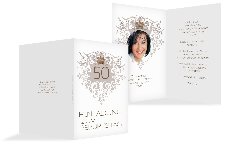 Einladungskarte Krone 50 Foto