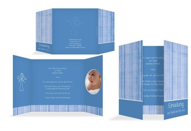 Taufe Einladung Streifentapete
