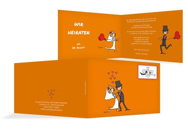Hochzeit Einladung Comic Brautpaar