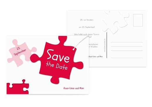 Hochzeit Save-the-Date Puzzleteile Rot 148x105mm
